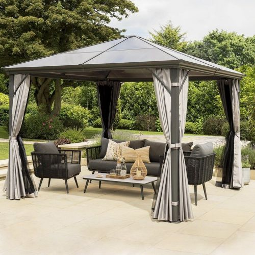 Aluminum Hardtop Gazebo with Polycarbonate Roof - 12' x 10' - Grey - Magasins Hart | Hart Stores