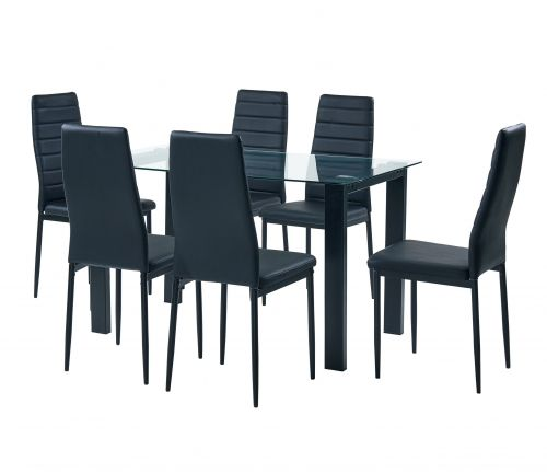 7 Piece Dining Set with 8mm Tempered Clear Glass - Magasins Hart | Hart Stores