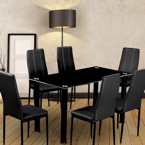 7 Piece Dining Set with 8mm Tempered Black Glass - Magasins Hart | Hart Stores