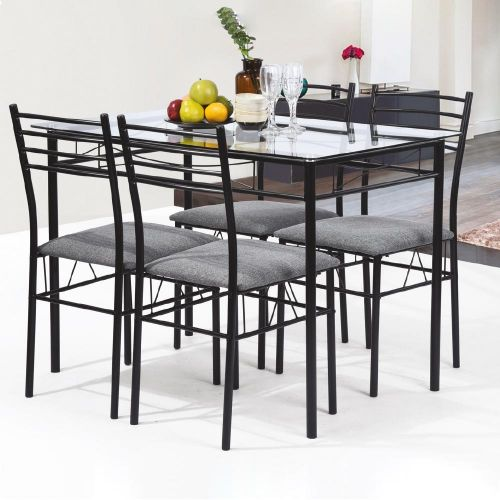 5-Piece Dining Table Set   Tempered Glass Tabletop