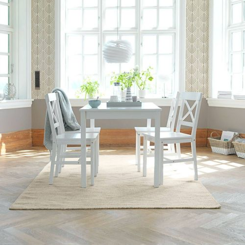 5 Piece Pine Wood Dining Set - White - Magasins Hart | Hart Stores