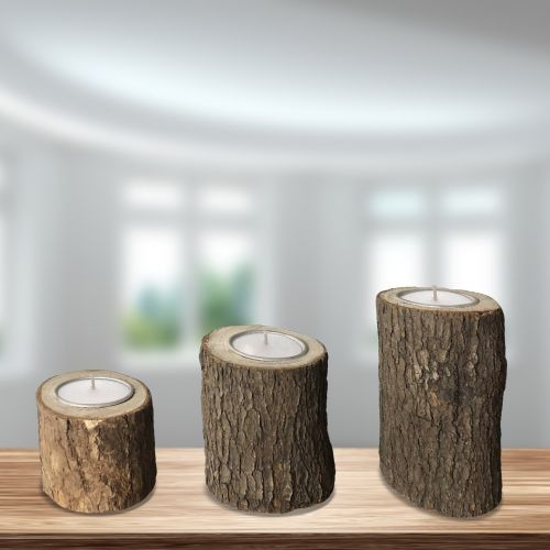 Candle Holder Wood 3pc - Magasins Hart | Hart Stores