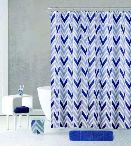 Blue Geometric - Bath Curtain and Mat Set with Accessories - Magasins Hart | Hart Stores